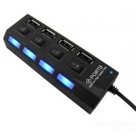 Hub 4 ports USB 2.0 High Speed avec interrupteur individuel